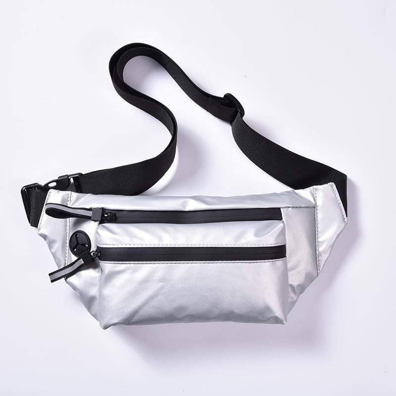 Obangbag Silver Men Chic Multifunction Street Large Capacity Nylon Waterproof Fanny Pack Chest Bag Waist Bag