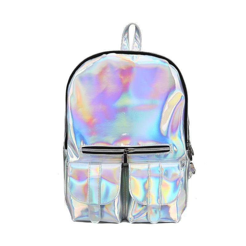 Obangbag Silver Women Chic Street Large Capacity Lightweight Laser Backpack Bookbag for School