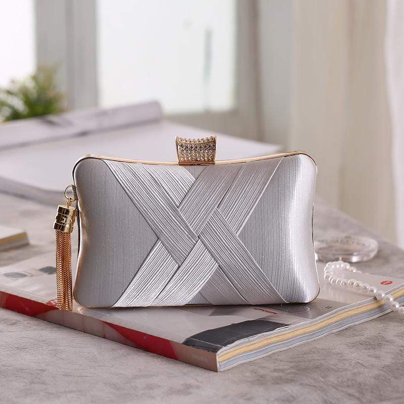Obangbag Silver Women Chic Stylish Fringed Polyester Evening Purse Clutch Bag