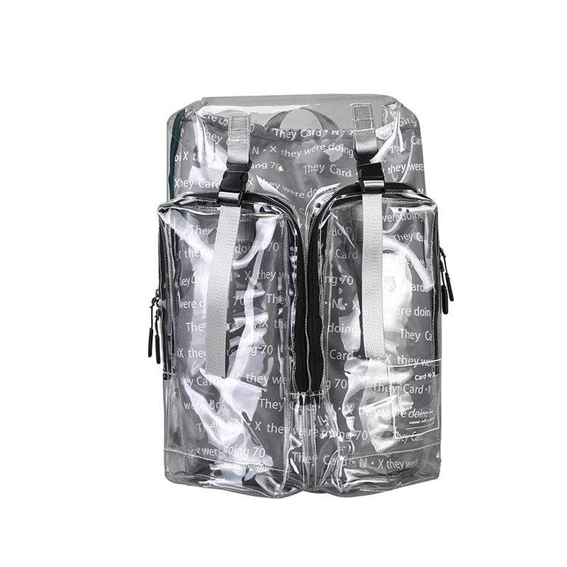 Obangbag Silvery&Grey Unisex Fashion Big Oversized Roomy Clear Transparent Plastic PVC Backpack