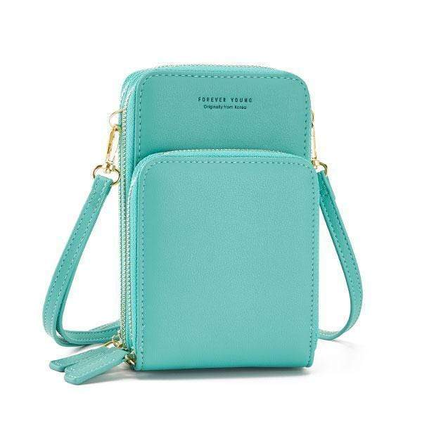 Obangbag Sky Blue Multi-Pocket Multi Layer Mini Crossbody Phone Bag