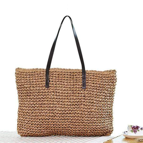 Obangbag Square / brown Summer Holiday Grass Woven Straw Rattan Bag Mini Cute Small Handbag Beachbag for Ladies