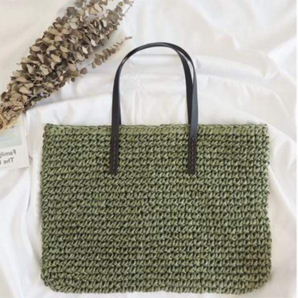 Obangbag Square / green Summer Holiday Grass Woven Straw Rattan Bag Mini Cute Small Handbag Beachbag for Ladies
