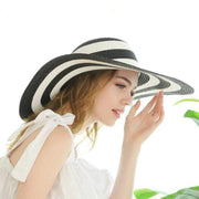 Obangbag Striped Sun Hat Women Overflowed Floppy Sun hats