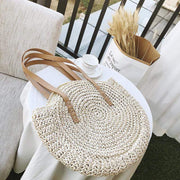 Obangbag Summer Hand Woven Round Straw Beach Handbag Bohemian Straw Hat