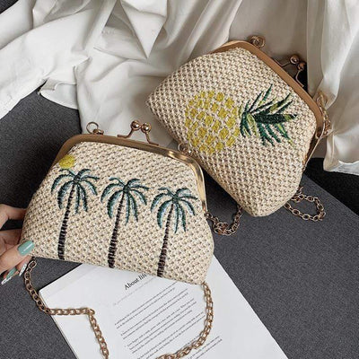 Obangbag Summer Holiday Plants Woven Chain Crossbody Bag Beach Bag