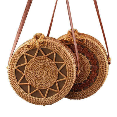 Obangbag Summer Round Circle Handmade Rattan Straw Beach Mini Cute Small Crossbody Bag Purse