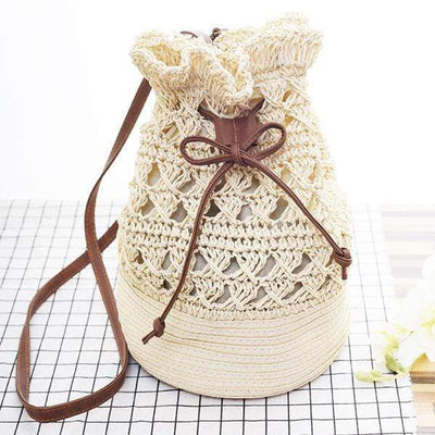 Obangbag Summer Vacation Holiday Woven Bucket Shoulder Bag Beach Bag