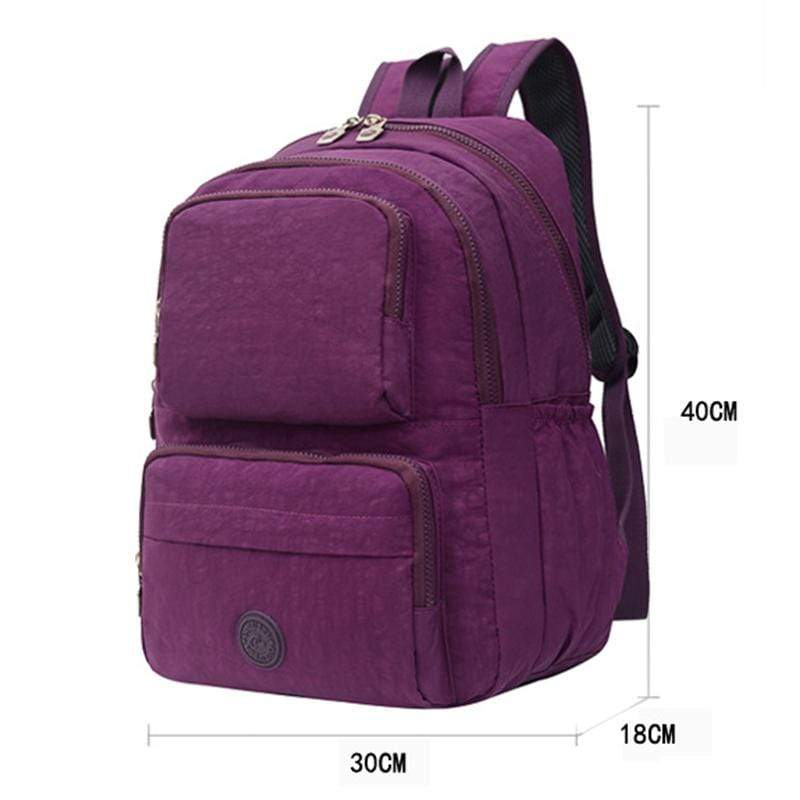 Obangbag Unisex Big Casual Multi Pockets Multifunction Lightweight Nylon Backpack for Work for Travel