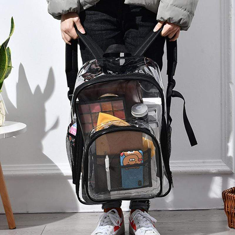 Obangbag Unisex Chic Big Large Capacity See Through Clear Transparent Plastic PVC Backpack Bookbag for School