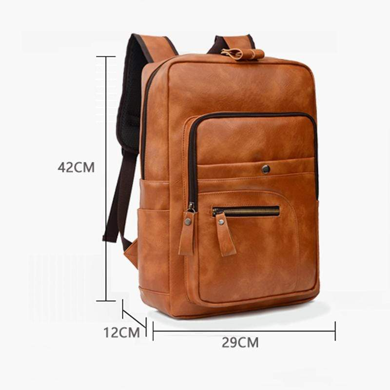 Obangbag Unisex Chic Casual Roomy Multifunction Leather Backpack Laptop Bag Bookbag for Travel for Work