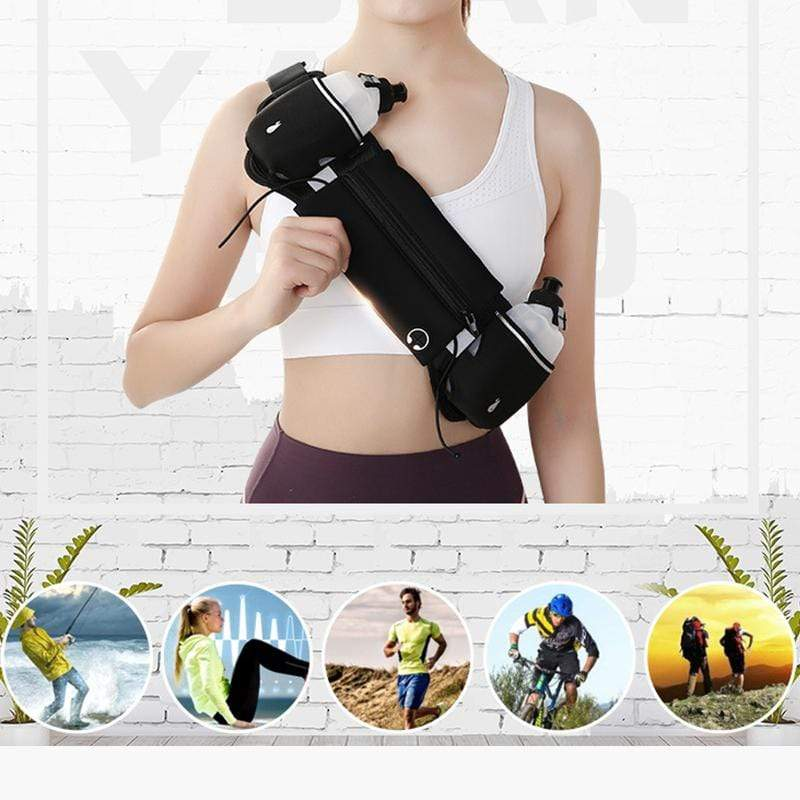 Obangbag Unisex Chic Large Capacity Lightweight Sports Outdoor Bottle Anti-theft Multifunction Waterproof Fanny Pack