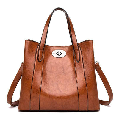 Obangbag Vintage Large Capacity Work Leather Shoulder Bags Tote Bags
