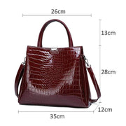 Obangbag Vintage Shiny Leather 2PCS Bag Set Multi Pockets Work Tote Bag