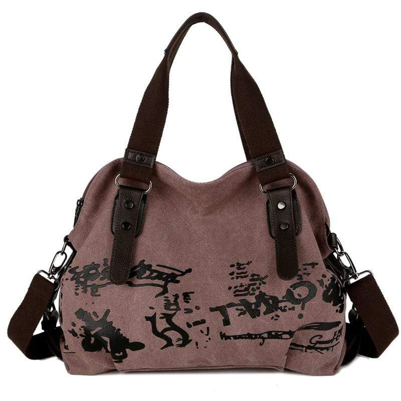 Obangbag Violet Women Fashion Large Capacity Printed Canvas Crossbady Bag Handbag
