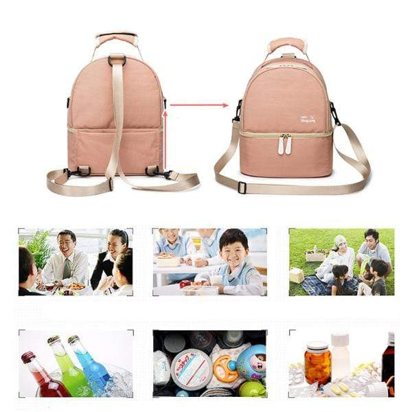 Obangbag Waterproof Lunch Box Backpack With Bottom Compartment Pockets