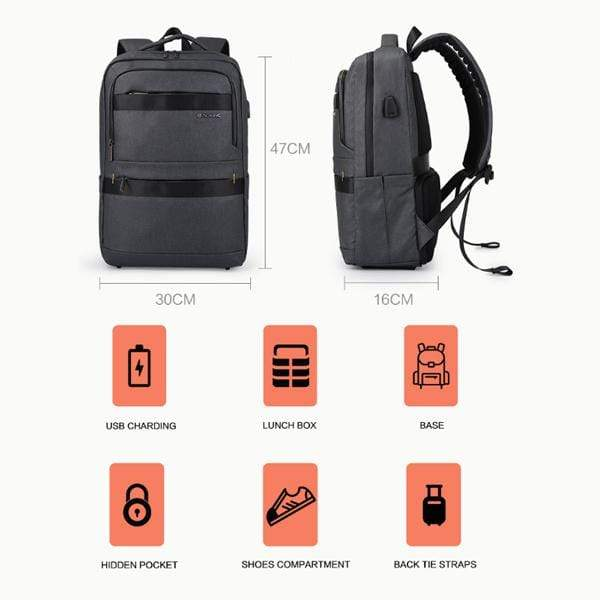 Obangbag Waterproof Multi Pockets Lunch Box Bottom Compartment Usb Charging Backpack