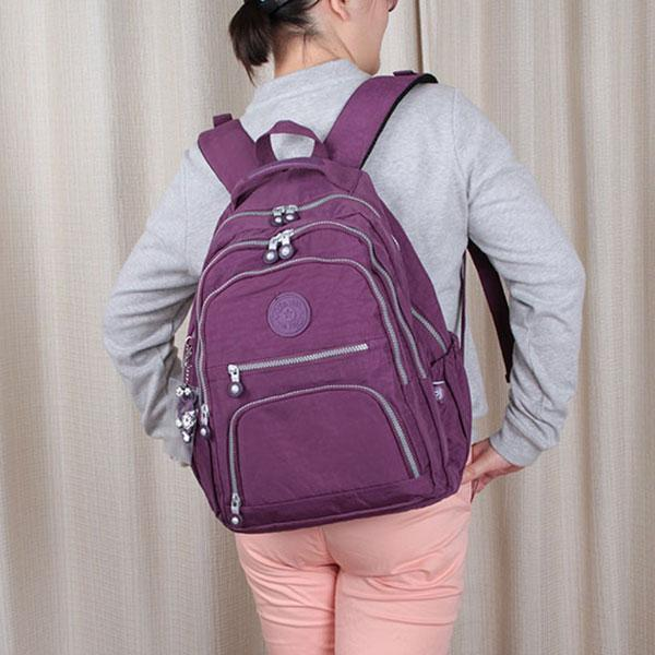 Obangbag Waterproof Travel Backpack Multi Pocket Washed School Bag