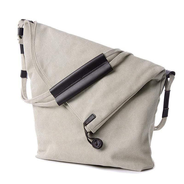 Obangbag White Canvas & Leather Large Capacity Lightweight Crossbody Bag