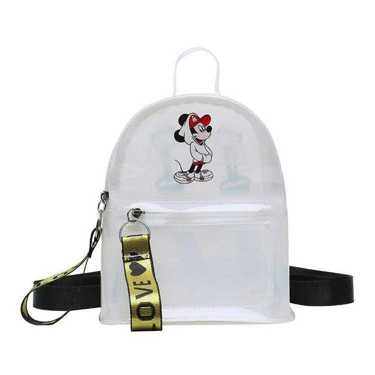 Obangbag White Cartoon Printed Unisex Chic Casual Cute Summer Clear Transparent Plastic Backpack for Children