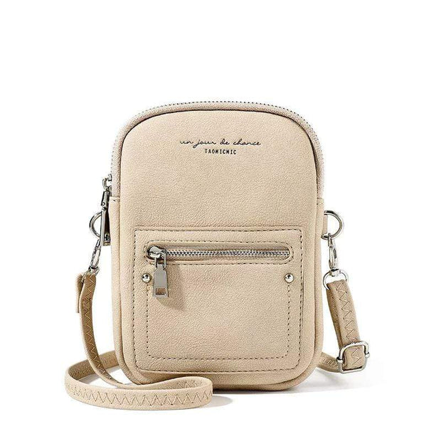 Obangbag White Chic Douple Zipper Women Mini Phone Bag Crossbody Bag