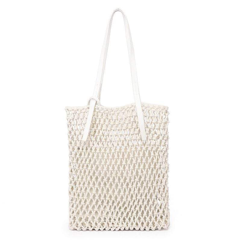 Obangbag white Ladies Fashion Mesh Straw Rattan Summer Mini Cute Small Beach Bag Handbag