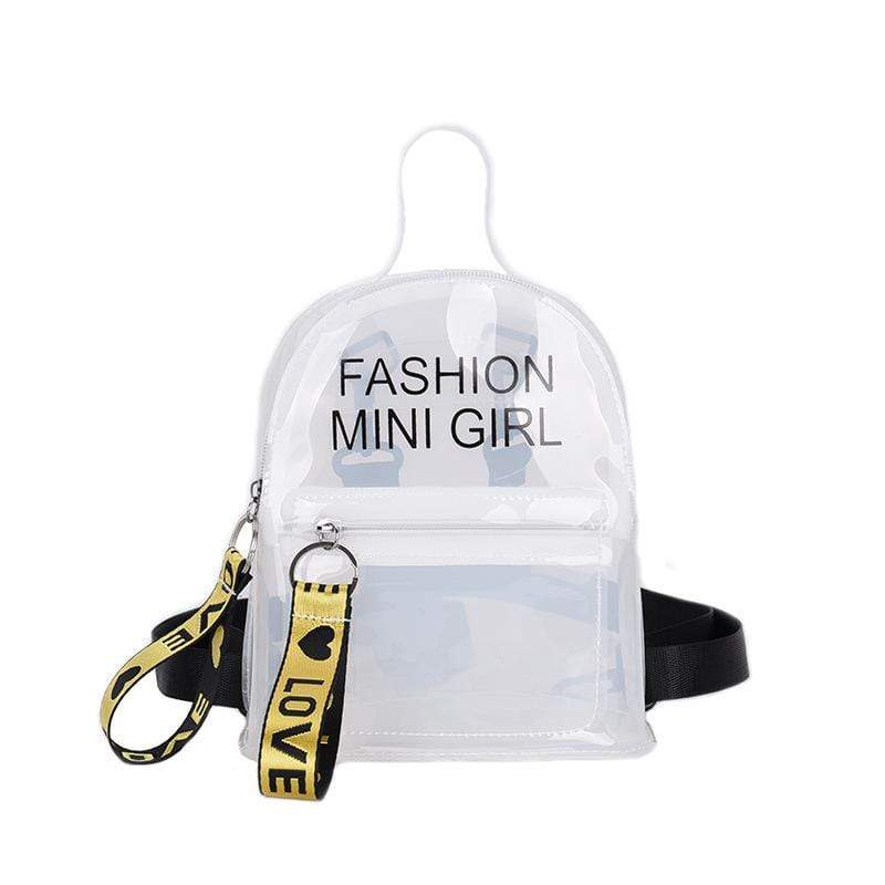 Obangbag White Letter Printed Unisex Chic Casual Cute Summer Clear Transparent Plastic Backpack for Children