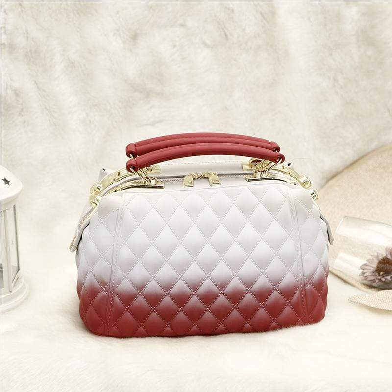 Obangbag White+Red Women Stylish Street Large Capacity Roomy Colorful  PVC Handbag Jelly Bag