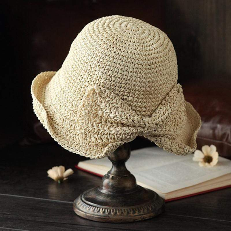 Obangbag wHITE Woman straw hat with bow