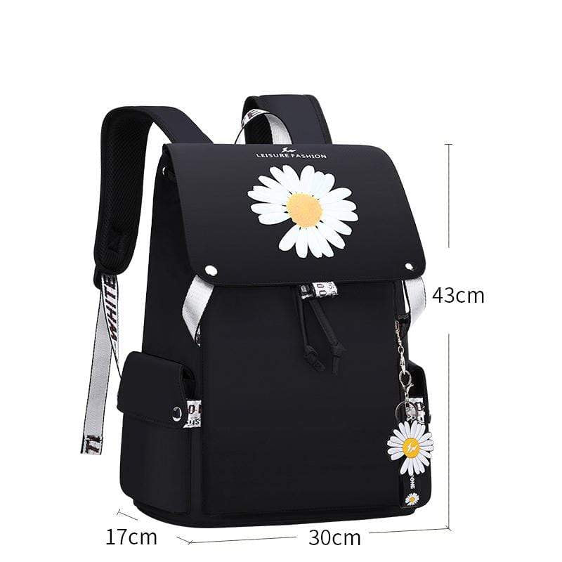 Obangbag White Women Casual Large Capacity Waterproof Canvas Backpack Bookbag for School for Travel