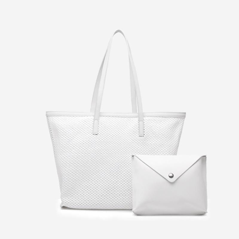 Obangbag White Women Chic Big Summer Large Capacity Woven Straw Tote Bag Handbag Bag Set for Travel