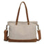 Obangbag White Women Chic Casual Large Capacity Leather Canvas Tote Bag Crossbody Bag for Work