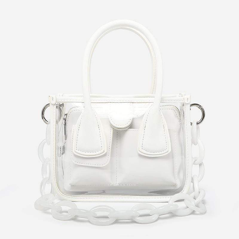 Obangbag White Women Chic Cute Lightweight Colorful Transparent Clear Plastic Handbag Crossbody Bag Bag Set