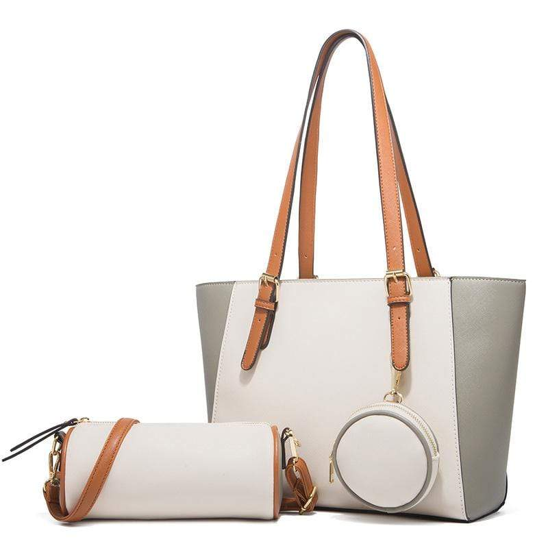 Obangbag White Women Chic Multifunction Large Capacity Professional Leather Bag Set Handbag Purse Crossbody Bag for Work