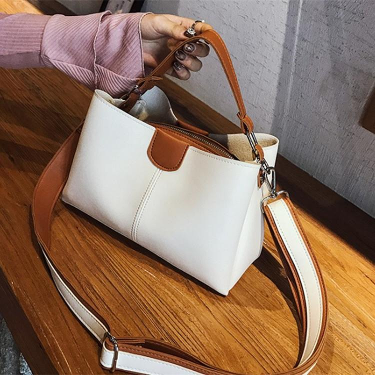 Obangbag White Women Chic Professional Large Capacity PU Leather Handbag Crossbody Bag for Work