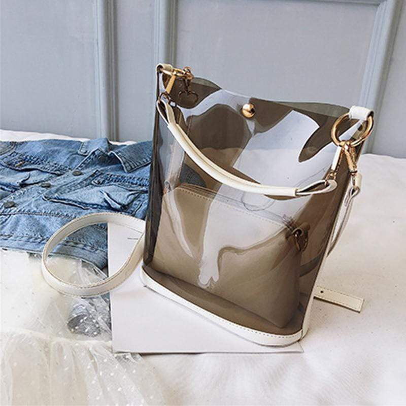 Obangbag White Women Chic Street Big Large Capacity Transparent Clear PVC Plastic Handbag Shoulder Bag Crossbody Bag
