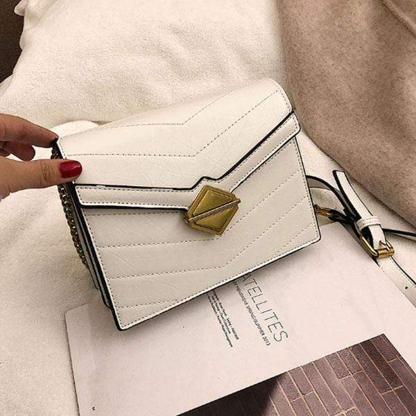 Obangbag White Women Chic Vintage Stylish PU Leather Square Bag Messenger Bag Chain Bag Shoulder Bag