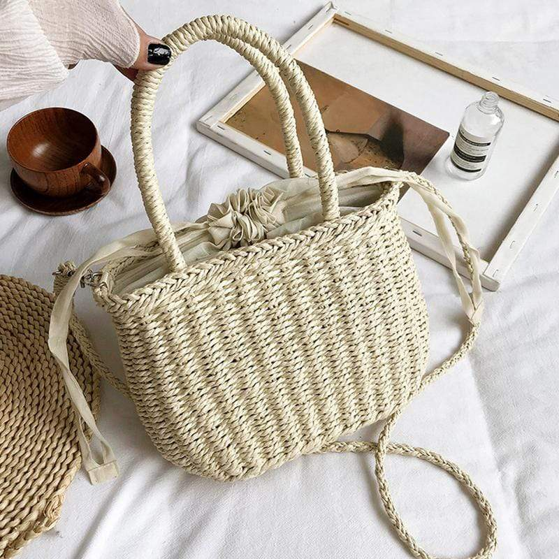 Obangbag White Women Cute Chic Stylish Spring Lightweight Roomy Woven Straw Handbag Crossbody Bag