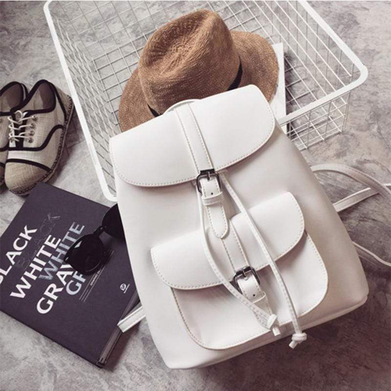 Obangbag White Women Cute Fashion Casual Roomy Anti-theft PU Leather Backpack Bookbag for School