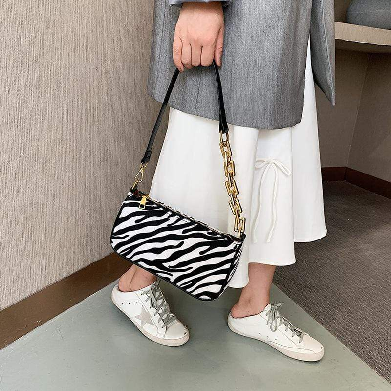 Obangbag White Women Fashion Vintage Chic Roomy Lightweight Zebra Pattern Velvet Handbag Underarm Bag Baguette Bag