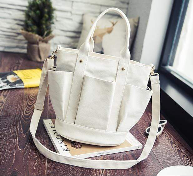 Obangbag White Women Fashion Vintage Multi Pockets Multifunction Canvas Handbag Crossbody Bag Shoulder Bag