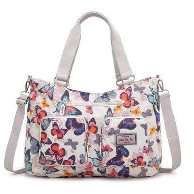 Obangbag White Women Floral Print Multi Pockets Big Capacity Teacher Cloth Tote Bag