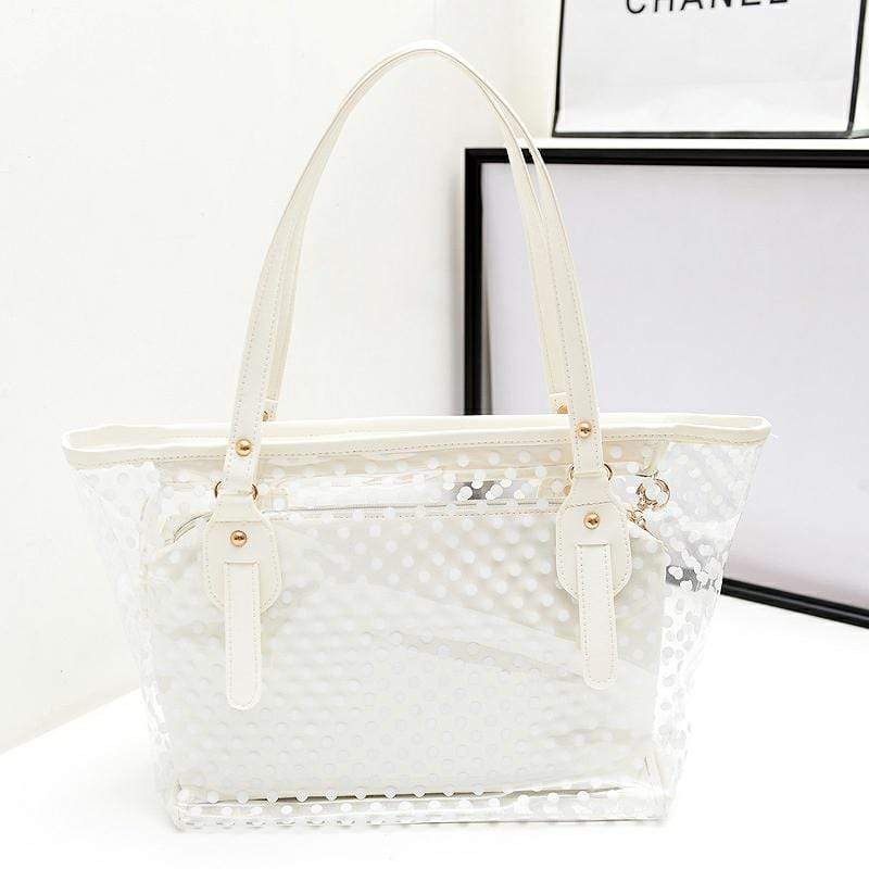 Obangbag White Women Stylish Street  Large Capacity Clear Transparent Plastic PU Leather Tote Bag Shoulder Bag Bag Set