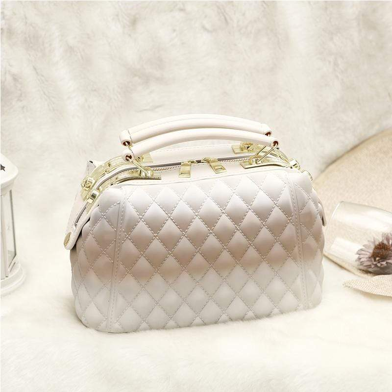 Obangbag White Women Stylish Street Large Capacity Roomy Colorful PVC Handbag Jelly Bag