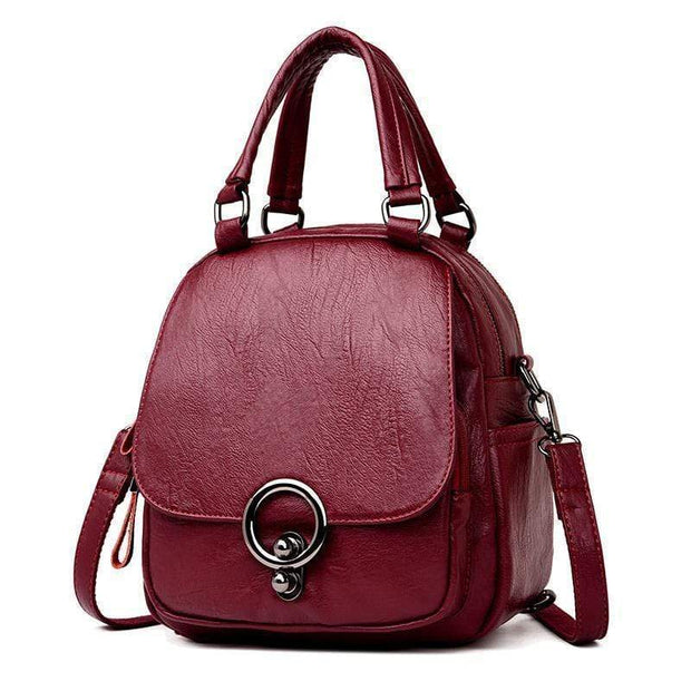 Obangbag Win Red Multi Function Soft Leather Classical Retro Vintage Backpack Travel Bag Crossbody Bag