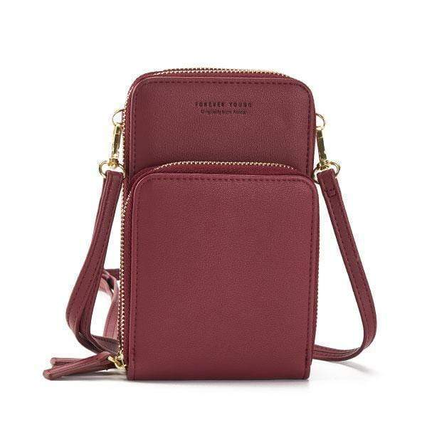 Obangbag Win Red Multi-Pocket Multi Layer Mini Crossbody Phone Bag
