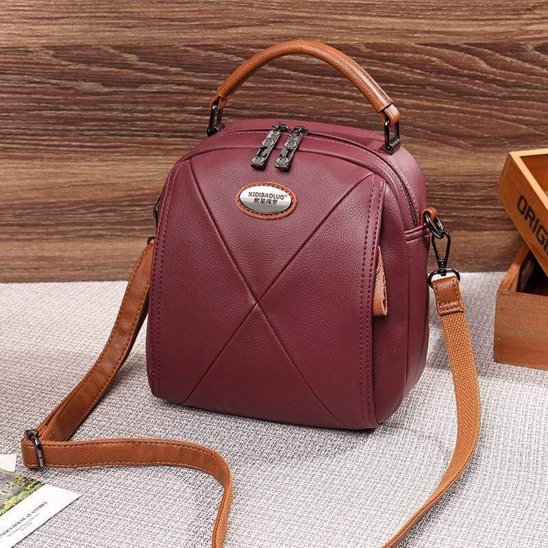 Obangbag Wine Red Colorful Stylish Pockets Small Leather Professional Backpack Crossbody Bag