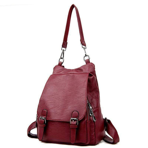 obangbag Wine Red Ladies Multi Pockets Large Capacity Leather Backpack Shoulder Bag