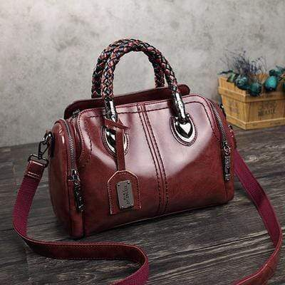 obangbag Wine Red Ladies Retro Large Capacity Leather Tote Bag Work Shoulder Bag