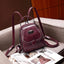 Obangbag Wine Red Multi Function Multi Pockets Women Small Retro Leather Backpack